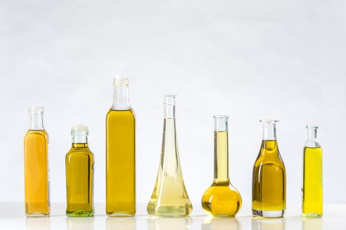 Different sorts of cooking oil close-up